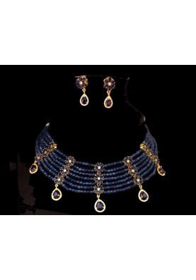Sapphire collar necklace set