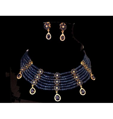 Sapphire collar necklace set