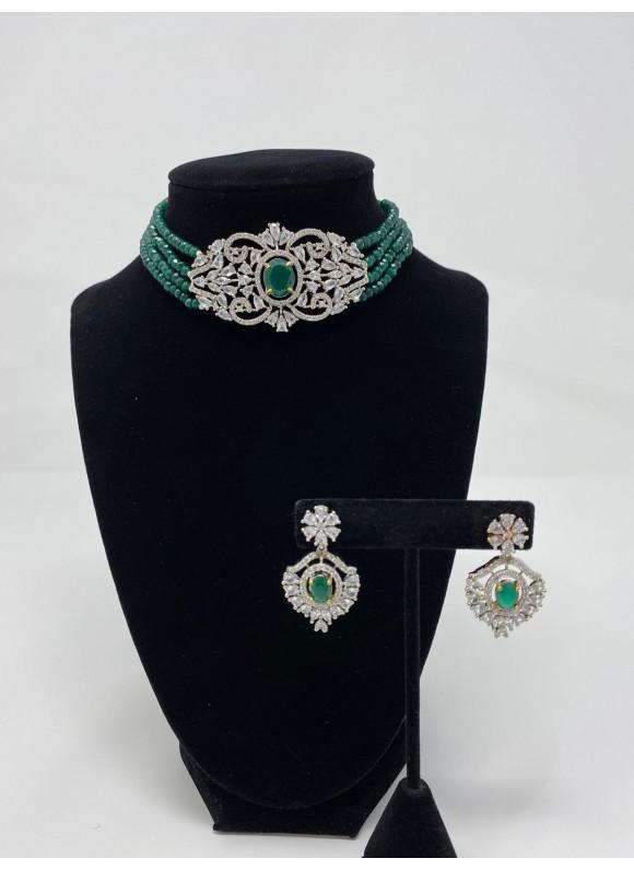 Cubic Zirconia Choker Set with Semi-Precious Emerald Stones