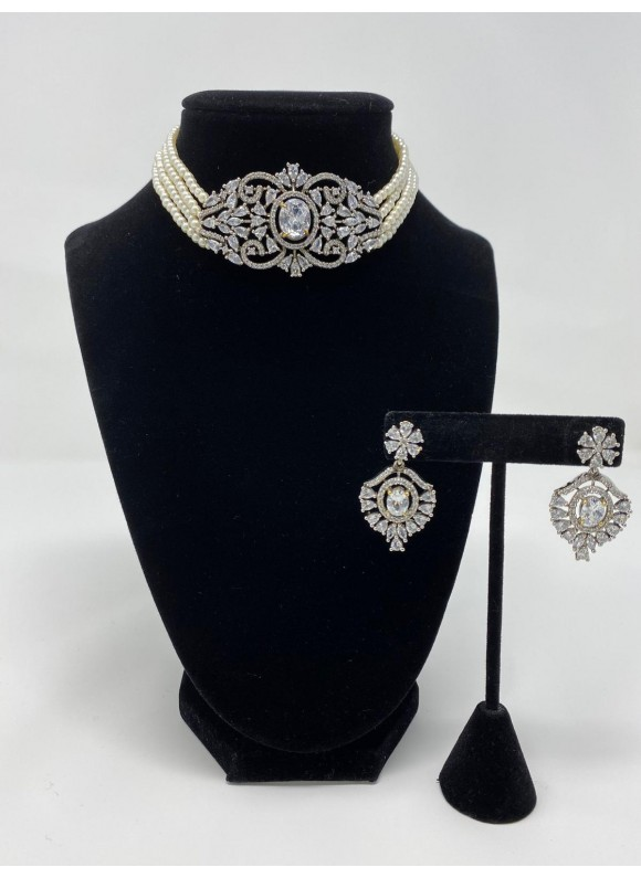 Cubic Zirconia Choker set with Faux Pearls