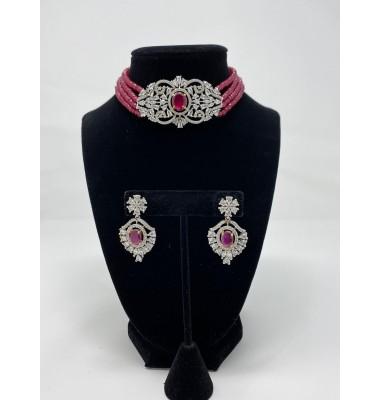 Cubic zirconia choker set with semi-precious ruby stones