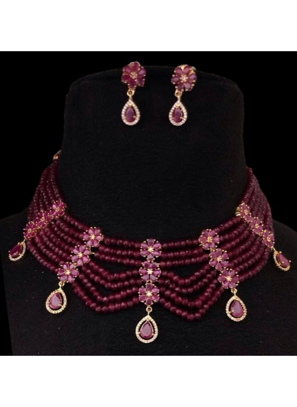 Ruby collar necklace set