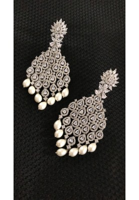Long Diamond and Faux Pearl Earrings