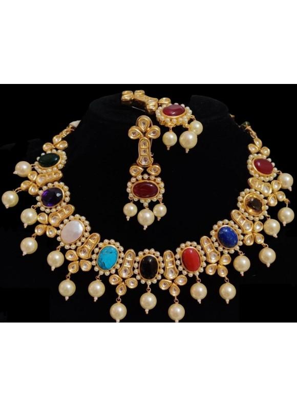 Multi-color gemstone necklace set