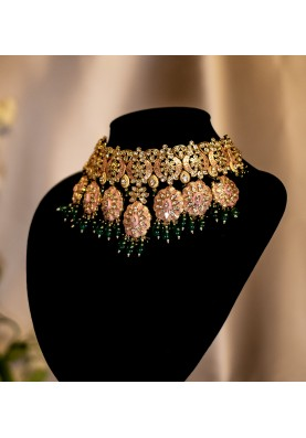 Gold and Pink Enamel Set