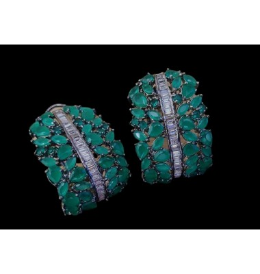 Emerald baguette earrings