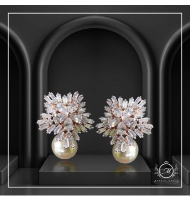 Rosegold Flower Pearl Studs
