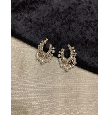 Faux Pearl Fringe Earrings - Gold