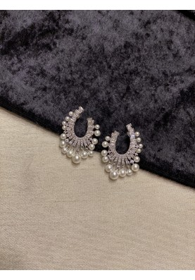 Faux Pearl Fringe Earrings - Silver