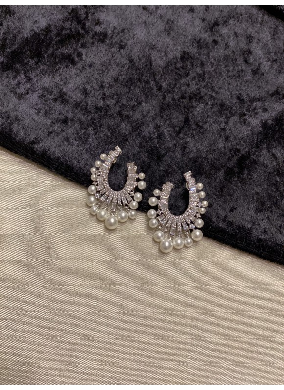 Faux Pearl Fringe Earrings - Silver