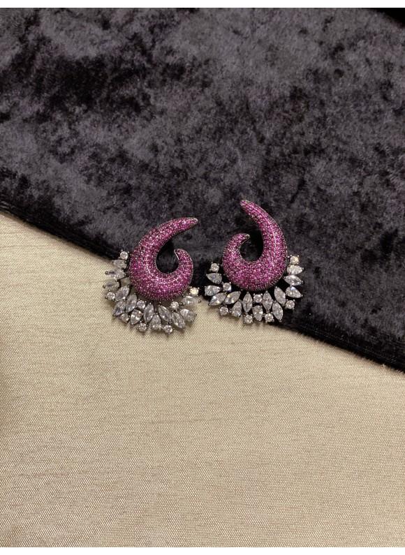 Swirl Pave Diamond Earrings in Ruby Red