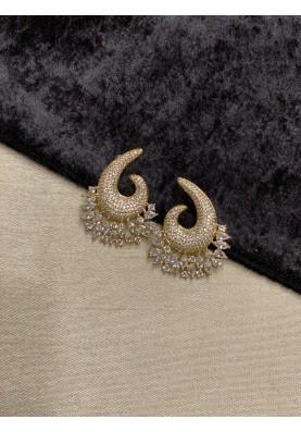 Swirl Pave Diamond Earrings in Gold