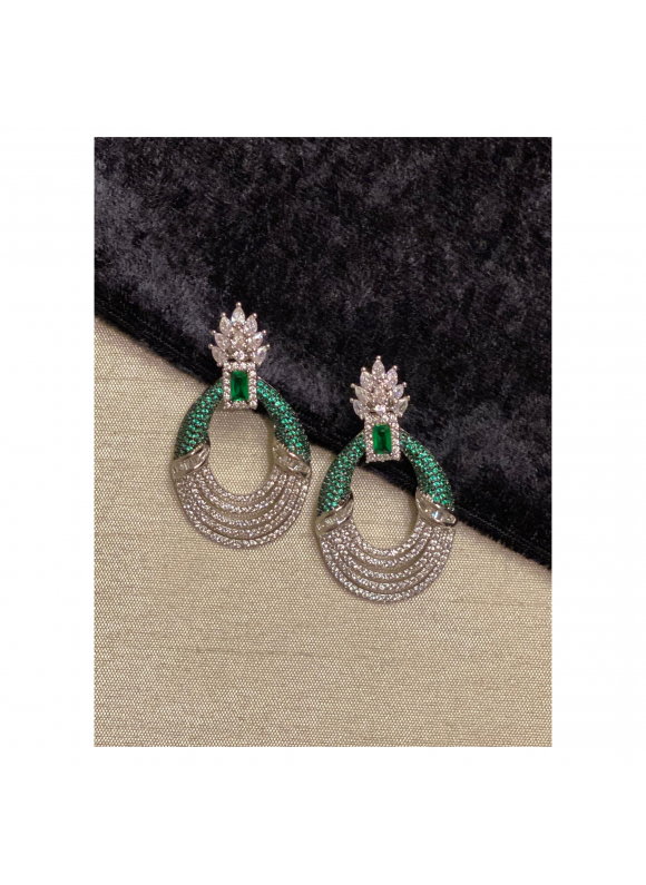 Pave Crown Earrings in Emerald Green