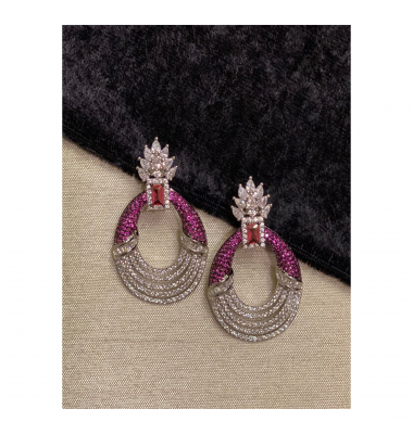 Pave Crown Earrings in Fuschia