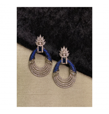 Pave Crown Earrings in Sapphire Blue