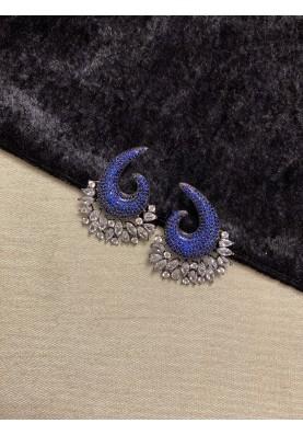 Swirl Pave Diamond Earrings in Sapphire Blue