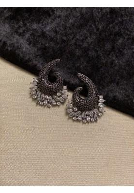 Swirl Pave Diamond Earrings in Black