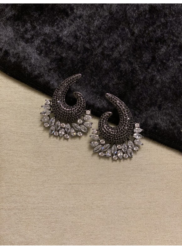 Swirl Pave Diamond Earrings in Black