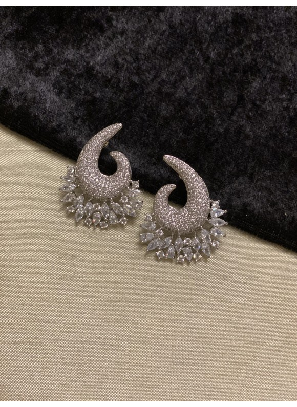 Swirl Pave Diamond Earrings in Silver