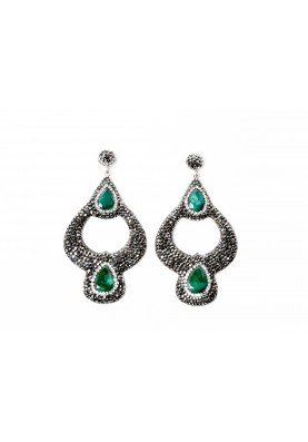 Druzy Lantern Shape Earrings-Emerald
