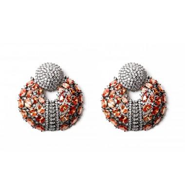 Pave Cubic Zircon Earrings-Citrine