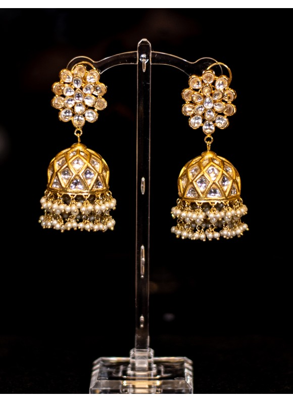 Traditional Kundan Jhumka Earrings