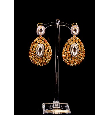 Citrine and Kundan Earrings