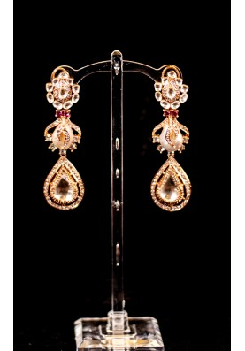 Rose Kundan Pearl Earrings