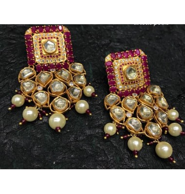 Ruby Kundan Chandelier Earrings