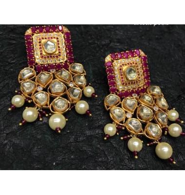 Ruby Kundan Chandelier Earrings